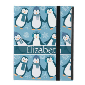 Cute Winter Penguins Design Add Name iPad Cases