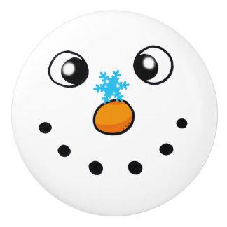 cute winter snowman and snowflake - festive ceramic knob