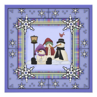 Cute Winter Snowman Birthday Invitation