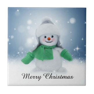 Cute Winter Snowman Christmas Tile