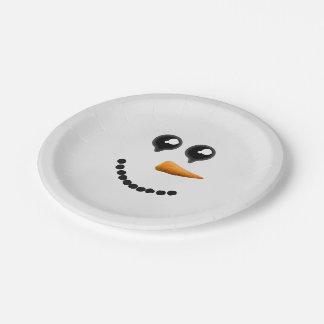 Cute Winter Snowman Face 7 Inch Paper Plate