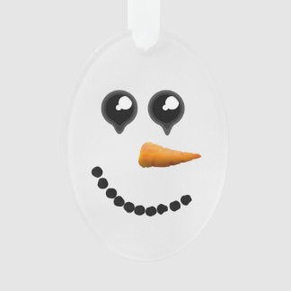 Cute Winter Snowman Face Ornament