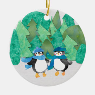 Cute Winter Watercolour Penguin Tree Ornament