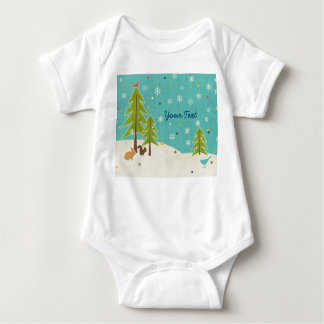 Cute Winter Wonderland Woodland Scene personalized Baby Bodysuit