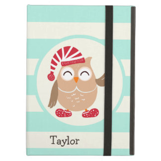 Cute Winter Woodland Christmas Owl; Blue Stripes iPad Air Covers