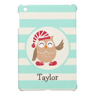 Cute Winter Woodland Christmas Owl; Blue Stripes Case For The iPad Mini