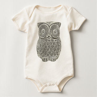 Cute wise grey owl babygro creeper
