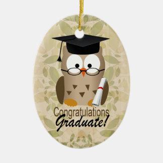 Cute Wise Owl Graduate Ceramic Oval Decoration