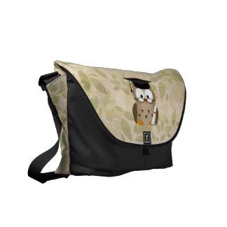 Cute Wise Owl Graduate Messenger Bags