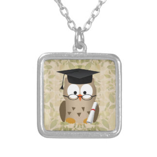 Cute Wise Owl Graduate Silver Plated Necklace