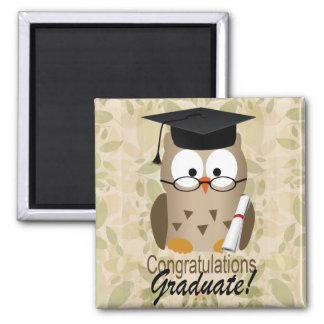 Cute Wise Owl Graduate Square Magnet