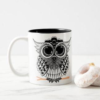 Cute Wise Owl Manadala Doodle Henna Pattern Two-Tone Coffee Mug
