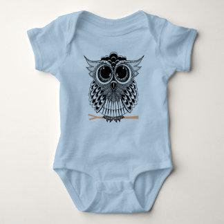 Cute Wise Owl Mandala Doodle Henna Pattern Baby Bodysuit