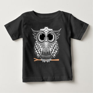 Cute Wise Owl Mandala Doodle Henna Pattern Baby T-Shirt