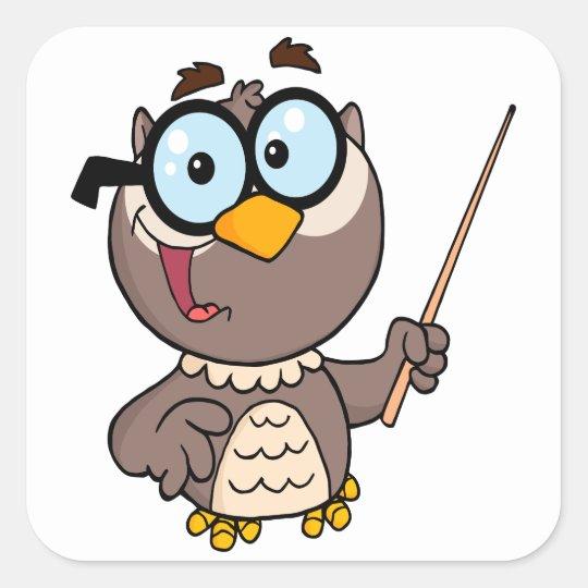 cute wise owl teaching teacher cartoon square sticker