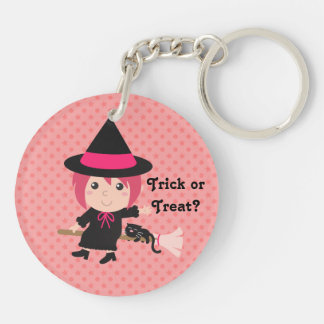 Cute Witch and Black Cat on Flying Broom Double-Sided Round Acrylic Keychain