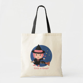 Cute Witch and Black Cat on Flying Broom Tote Bag