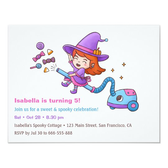 Cute Witch and Candy Birthday Party Invitations