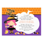 Cute Witch and Candy Halloween Birthday Personalized Invitations