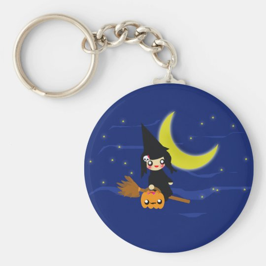 Cute Witch Basic Round Button Key Ring