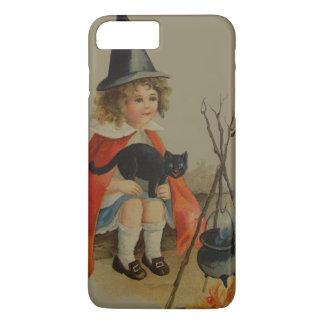 Cute Witch Black Cat Cauldron Fire iPhone 7 Plus Case