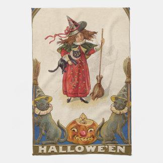 Cute Witch Black Cat Jack O' Lantern Tea Towel