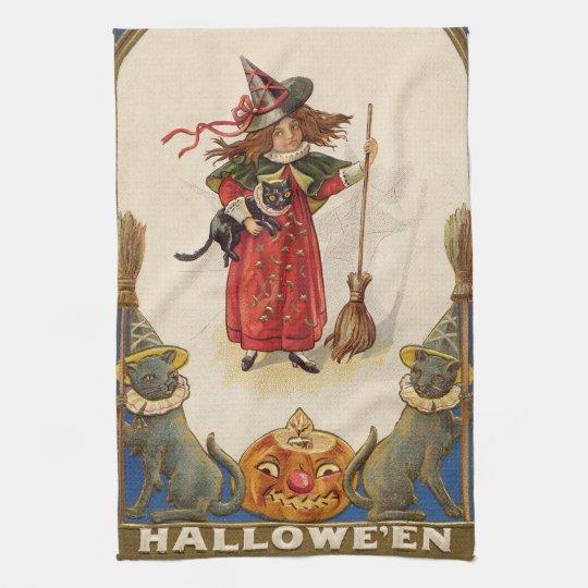 Cute Witch Black Cat Jack O' Lantern Tea