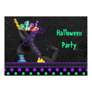Cute Witch Boot with Candy Halloween Party 13 Cm X 18 Cm Invitation Card