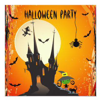 Cute Witch, Cat & Castle Halloween Party Invites