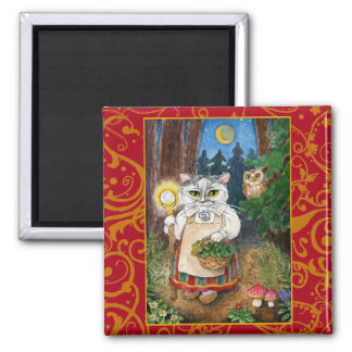 Cute Witch Cat Enchanted Forest magnet