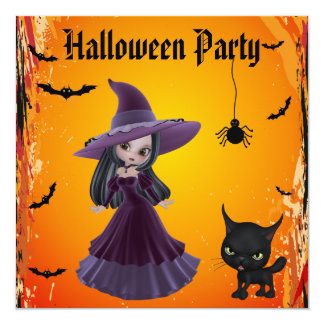 Cute Witch & Cat Halloween Party Card