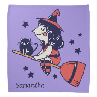 Cute Witch custom name Halloween bandana