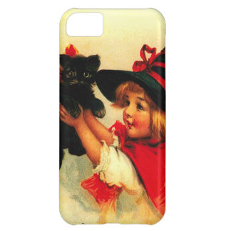 Cute Witch Girl Black Cat Case For iPhone 5C
