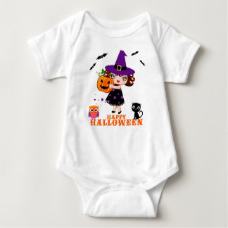 Cute Witch Halloween Baby Jersey Bodysuit