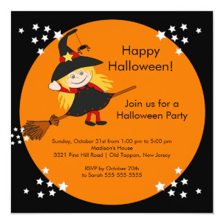Cute Witch Halloween Party Invitation for kids