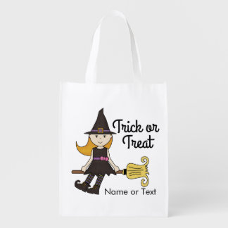 Cute Witch Halloween Trick or Treat Personalized Reusable Grocery Bag