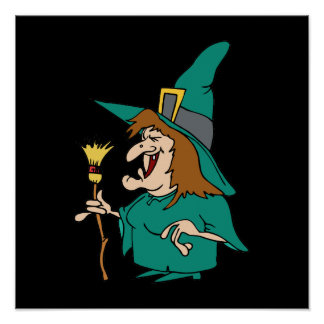 Cute Witch in Green Poster