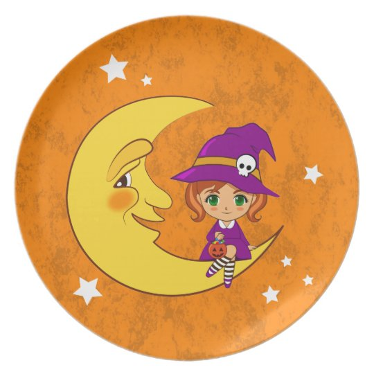 Cute Witch sitting on the moon Plate