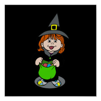 Cute witch trick or treater poster