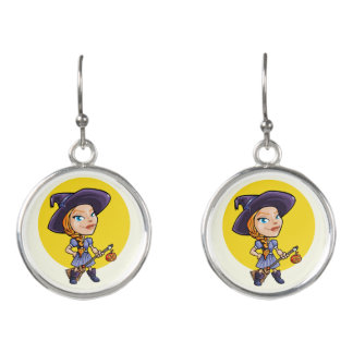 Cute witch with broom halloween cartoon earrings
