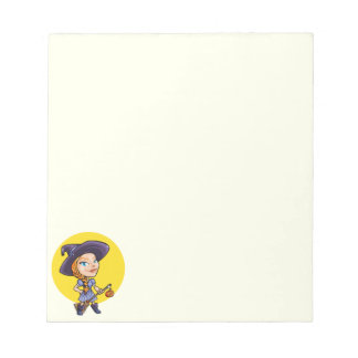 Cute witch with broom halloween cartoon notepad
