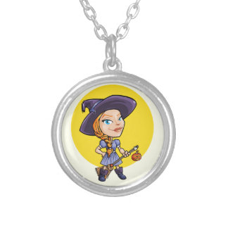 Cute witch with broom halloween cartoon round pendant necklace