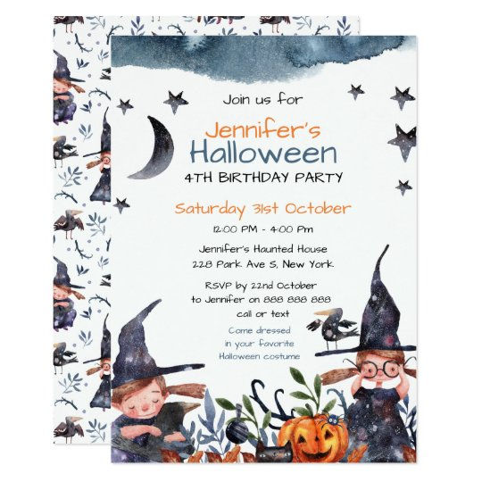 Cute Witches Kids Birthday Halloween Invitation