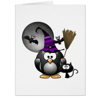 Cute Witchy Penguin with Halloween Scene Greeting Cards