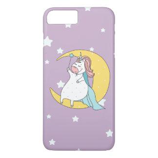 Cute wizard unicorn sitting on the moon iPhone 8 plus/7 plus case