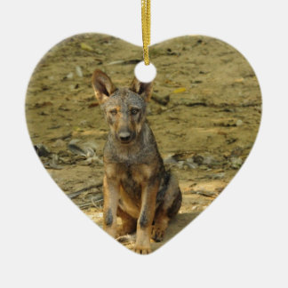 Cute Wolf Cub Ceramic Heart Decoration