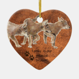 Cute Wolf pups - Family is our greatest Treasure Ceramic Heart Decoration