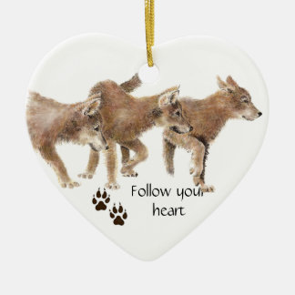 Cute Wolves Follow Your Heart Motivational Quote Ceramic Heart Decoration