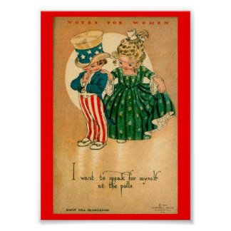 Cute Women's Voting Rights Suffrage Illustration Poster