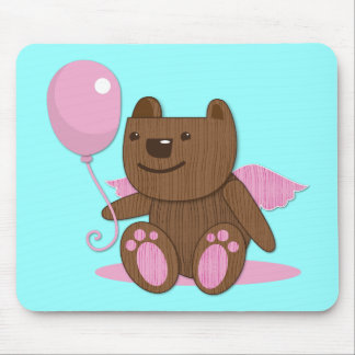 Cute wooden bear bearing gifts mouse pad